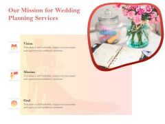 Professional Wedding Planner Our Mission For Wedding Planning Services Ppt PowerPoint Presentation Icon Themes PDF