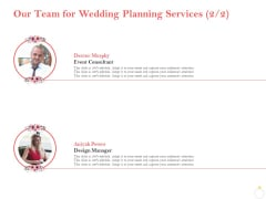 Professional Wedding Planner Our Team For Wedding Planning Services Ppt PowerPoint Presentation File Mockup PDF