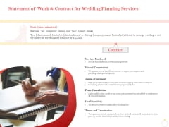 Professional Wedding Planner Statement Of Work And Contract For Wedding Planning Services Ppt Ideas Files PDF
