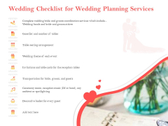 Professional Wedding Planner Wedding Checklist For Wedding Planning Services Ppt Pictures Background Designs PDF