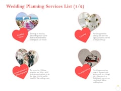 Professional Wedding Planner Wedding Planning Services List Catering Ppt PowerPoint Presentation Deck PDF