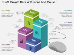 Profit Growth Bars With Icons And Mouse Powerpoint Template
