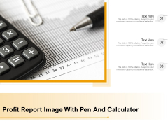 Profit Report Image With Pen And Calculator Ppt PowerPoint Presentation Gallery Styles PDF