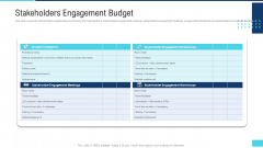 Profitable Initiation Project Engagement Process Stakeholders Engagement Budget Ppt Styles Templates PDF