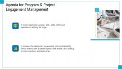 Program And PME Agenda For Program And Project Engagement Management Ppt Inspiration Model PDF