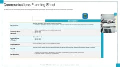 Program And PME Communications Planning Sheet Ppt Pictures Design Templates PDF
