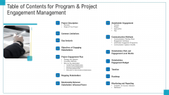 Program And PME Table Of Contents For Program And Project Engagement Management Ppt Ideas Mockup PDF