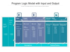 Program Logic Model With Input And Output Ppt PowerPoint Presentation File Background Image PDF