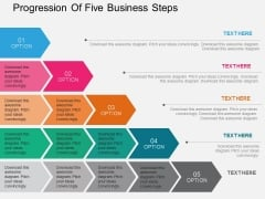 Progression Of Five Business Steps Powerpoint Templates