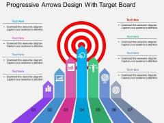 Progressive Arrows Design With Target Board Powerpoint Template