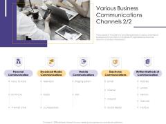 Progressive Various Business Communications Channels Media Ppt Outline Rules PDF