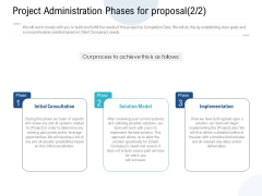 Project Administration Phases For Proposal Model Ppt PowerPoint Presentation Infographics Ideas