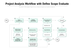 Project Analysis Workflow With Define Scope Evaluate Ppt PowerPoint Presentation Layouts Clipart