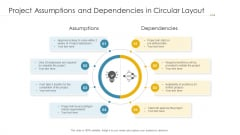 Project Assumptions And Dependencies In Circular Layout Ppt Layouts Examples PDF