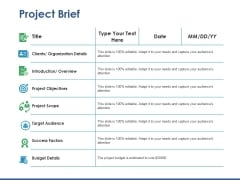 Project Brief Ppt PowerPoint Presentation Layouts Structure
