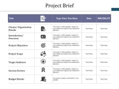 Project Brief Ppt PowerPoint Presentation Summary Visual Aids