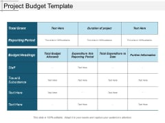 Project Budget Template Ppt PowerPoint Presentation Show Slides