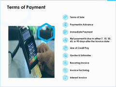 Project Budget Terms Of Payment Ppt PowerPoint Presentation Slides Samples PDF