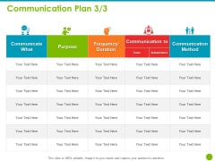 Project Capabilities Communication Plan Purpose Ppt Gallery Icon PDF