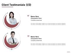 Project Capitalization Proposal Client Testimonials Communication Ppt File Portfolio PDF