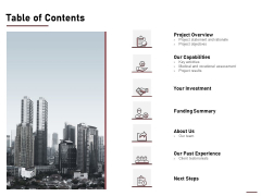 Project Capitalization Proposal Table Of Contents Ppt File Design Ideas PDF
