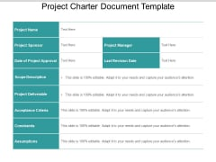 Project Charter Document Template Ppt PowerPoint Presentation Inspiration Diagrams