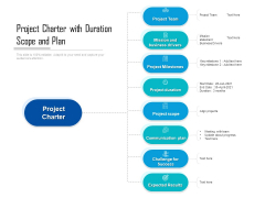 Project Charter With Duration Scope And Plan Ppt PowerPoint Presentation Gallery Slideshow PDF