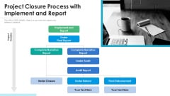 Project Closure Process With Implement And Report Ppt Infographic Template Inspiration PDF