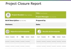 Project Closure Report Ppt PowerPoint Presentation File Templates