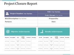 Project Closure Report Ppt PowerPoint Presentation Outline Professional