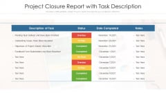 Project Closure Report With Task Description Ppt Information PDF