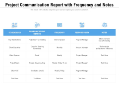 Project Communication Report With Frequency And Notes Ppt PowerPoint Presentation Outline Design Templates PDF