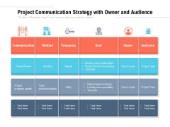 Project Communication Strategy With Owner And Audience Ppt PowerPoint Presentation Portfolio Portrait PDF