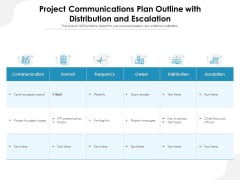 Project Communications Plan Outline With Distribution And Escalation Ppt PowerPoint Presentation File Graphics PDF