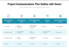 Project Communications Plan Outline With Owner Ppt PowerPoint Presentation Gallery Design Inspiration PDF