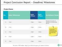 Project Conclusion Report Deadline Milestones Ppt PowerPoint Presentation Slides Design Ideas
