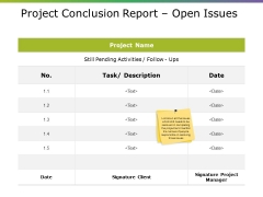 Project Conclusion Report Open Issues Ppt PowerPoint Presentation Background Designs