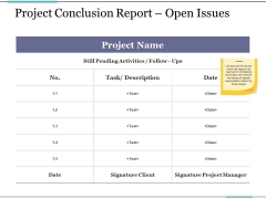 Project Conclusion Report Open Issues Ppt PowerPoint Presentation Ideas Graphics Download