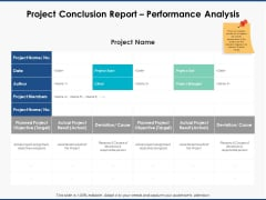 Project Conclusion Report Performance Analysis Ppt PowerPoint Presentation Diagram Graph Charts