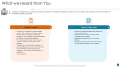 Project Consultation Services Proposal Ppt Slides What We Heard From You Elements PDF