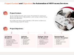 Project Context And Objectives For Automation Of HR Process Services Ppt PowerPoint Presentation Pictures Microsoft PDF