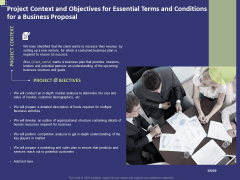 Project Context And Objectives For Essential Terms And Conditions For A Business Proposal Slides PDF
