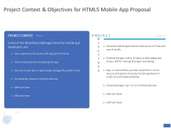 Project Context And Objectives For HTML5 Mobile App Proposal Ppt PowerPoint Presentation Pictures Show PDF