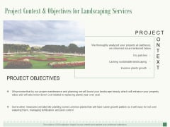 Project Context And Objectives For Landscaping Services Ppt PowerPoint Presentation Show Background Images