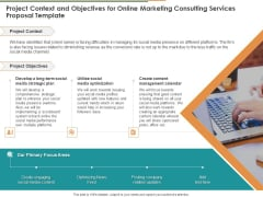 Project Context And Objectives For Online Marketing Consulting Services Proposal Template Ppt Ideas Designs PDF