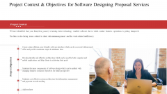 Project Context And Objectives For Software Designing Proposal Services Ppt Ideas PDF