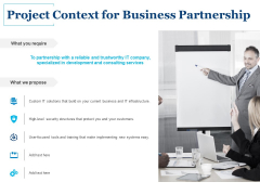 Project Context For Business Partnership Ppt PowerPoint Presentation Styles Picture