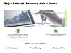 Project Context For Investment Advisor Service Ppt Ideas Vector PDF