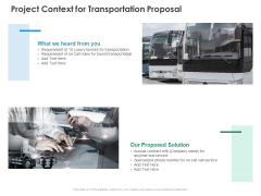 Project Context For Transportation Proposal Business Ppt PowerPoint Presentation Icon Deck