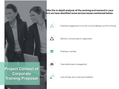 Project Context Of Corporate Training Proposal Ppt PowerPoint Presentation Show Model